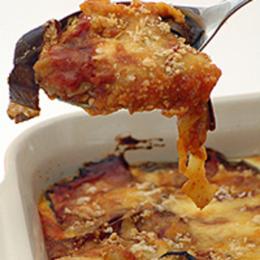 Aubergine Bake with Roast Pepper Sauce