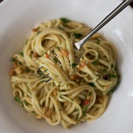Anchovy Pasta with Garlic Breadcrumbs