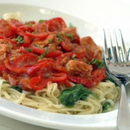 Angelhair Pasta with Tuna and Bell Pepper Sauce