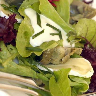 Artichoke Salad with Camembert Cheese