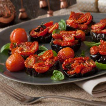 Aubergine and Tomato Rounds