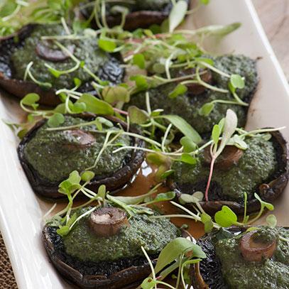 Black Mushrooms with Basil Pesto