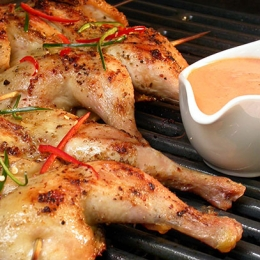 Braaied Baby Chickens with Creamy Prego Sauce