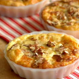 Butternut and Mozzarella Quiche with Pecan Topping