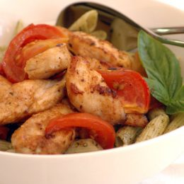 Chicken Pasta with Oven Roast Tomatoes and Basil Pesto