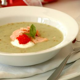 Chilled Cucumber Soup with Salmon