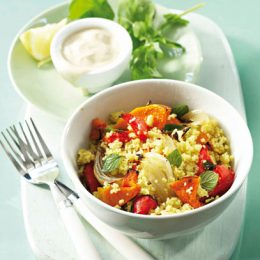 Couscous Salad with Roasted Vegetables Dressed with a Herbed Yoghurt Dressing