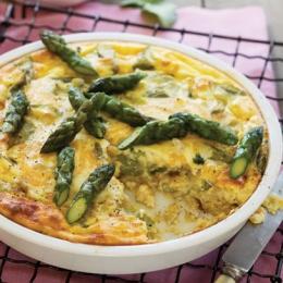 Crustless Asparagus and Onion Quiche