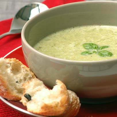 Green Pea Soup with Basil Pesto