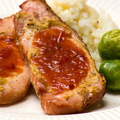 Kassler Chops with Sweet Chilli Chutney