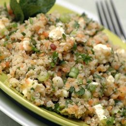 Lentil and Crushed Wheat Salad with Mint and Feta