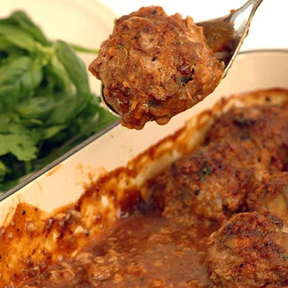 Mushroom Meatballs with Barbeque Sauce