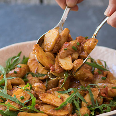 Potato Salad with Roasted Red Pepper Pesto