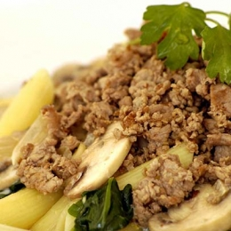 Penne with Mince and Creamed Mushrooms