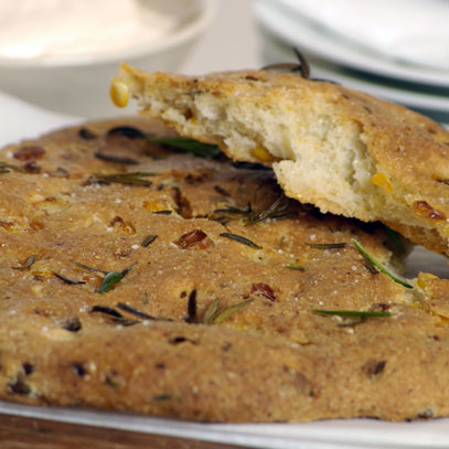 Polenta Flatbread with Fresh Mealies and Rosemary