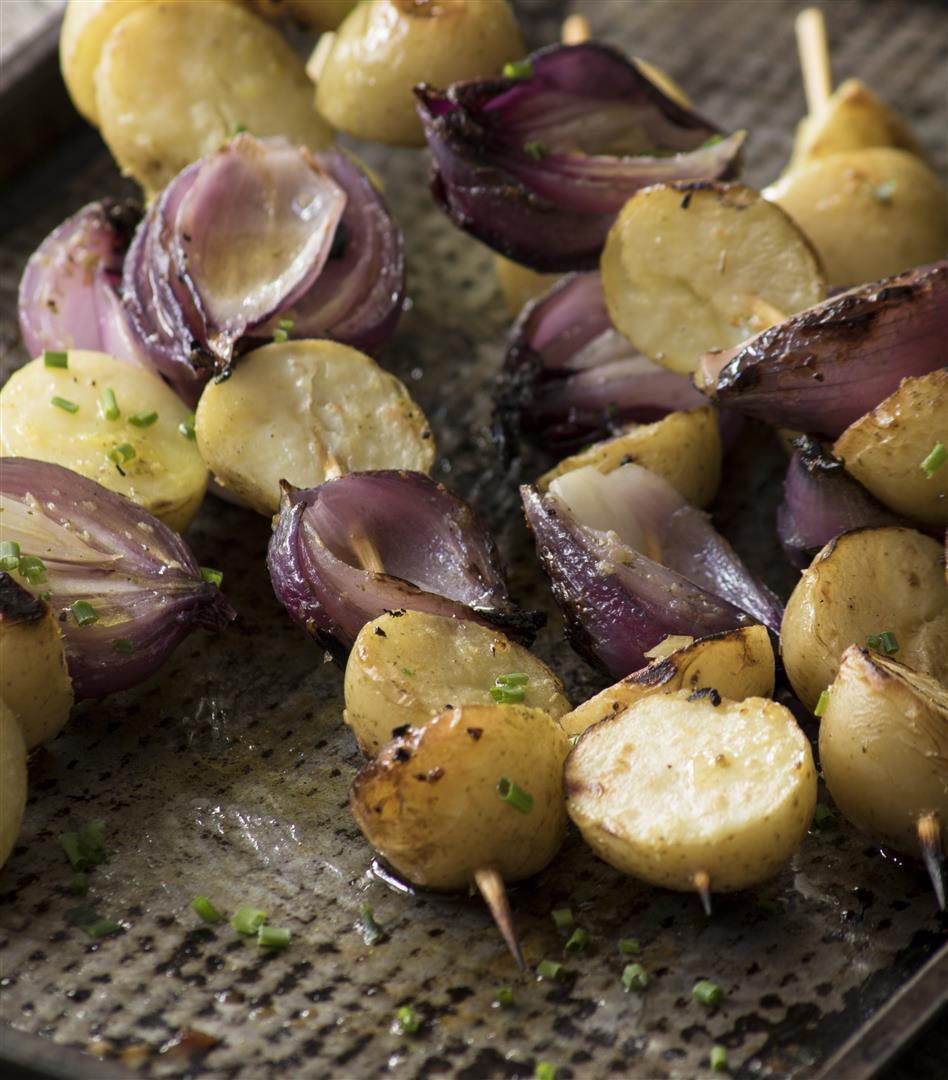Potato and Onion Skewers