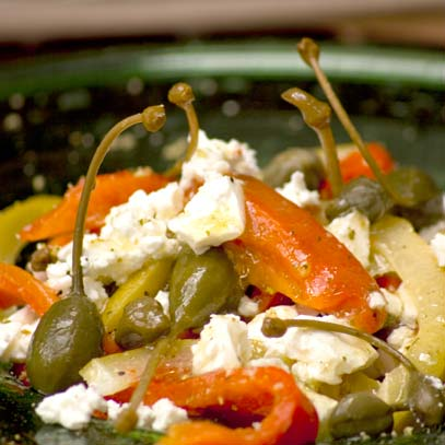 Red Pepper Starter with Feta and Capers