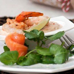 Salmon and Prawn Salad Starter