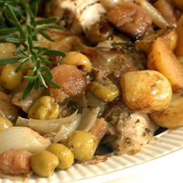 Spatchcock Chicken with Olives and Figs