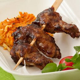 Sticky Chicken Wing Kebabs