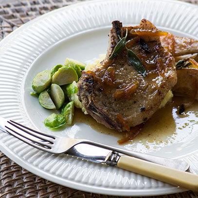 Sticky Pork Chops with Pears and Marmalade