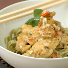 Thai-Style Chicken on Spinach Tagliatelle