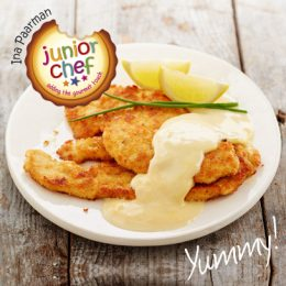 Chicken Schnitzels with Parmesan Crumbs and Cheese Sauce