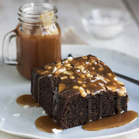 Macadamia Nut Brownies with Salted Caramel