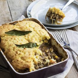 Mince and Onion Pie with Corn Topping