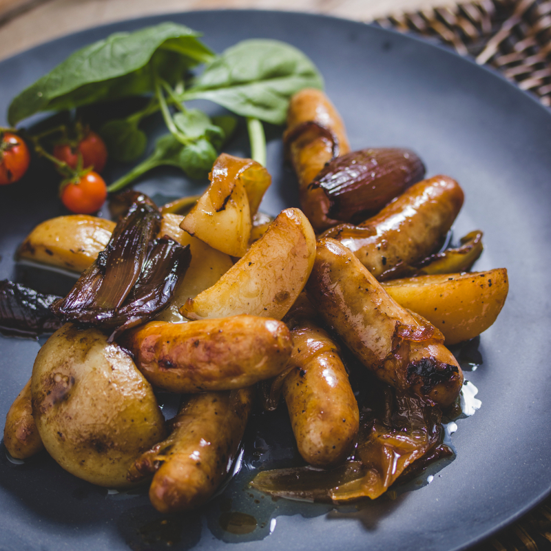Chipolata Ovenbake with Char-grilled Shallots