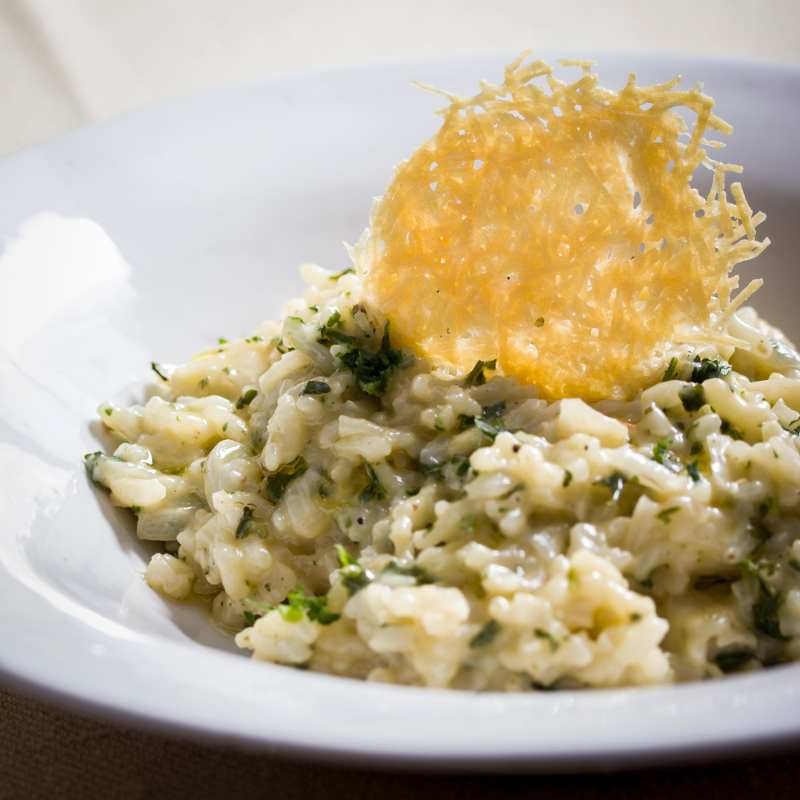Parsley Risotto with Parmesan Crisps
