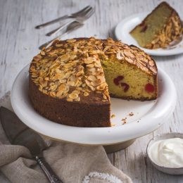 Cherry and Almond Buttermilk Cake