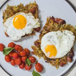 Tray Bake Rosti with Bacon and Onion