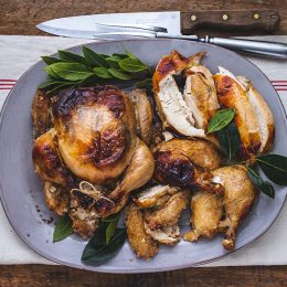 Roast Chicken in Spinach Leaves