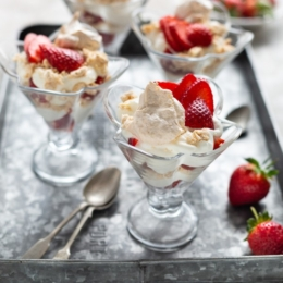 Strawberry Dessert with Meringues and Cream