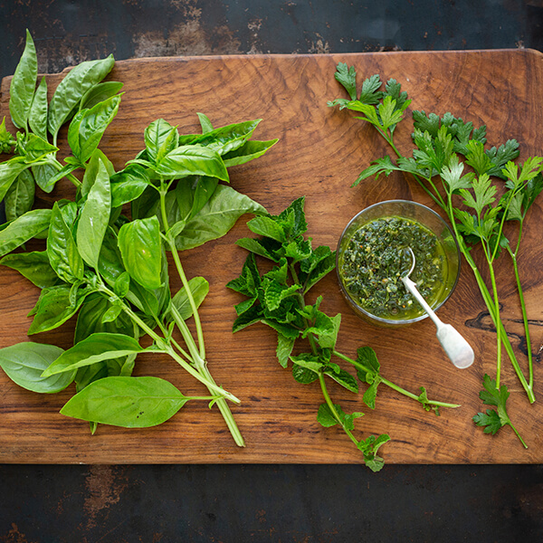 Herbs for Salsa Verde From L to R: Basil, Mint and Parsley