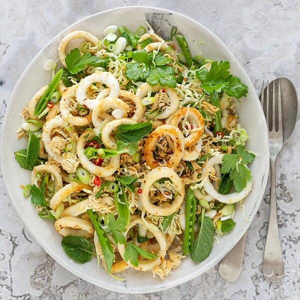 Crispy Calamari and Noodle Salad