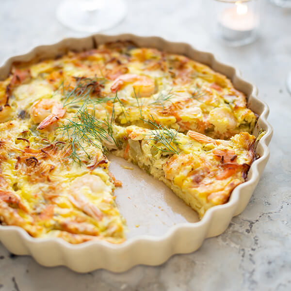 Crustless Salmon and Prawn Quiche