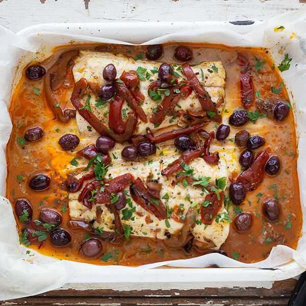 Fish with Char-grilled Peppers and Olives
