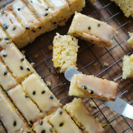 Granadilla Sheet Cake with Lemon Icing