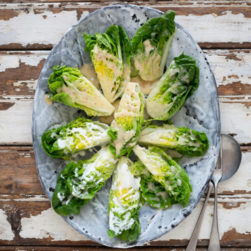 Leaf Salad Wedges with Dressings