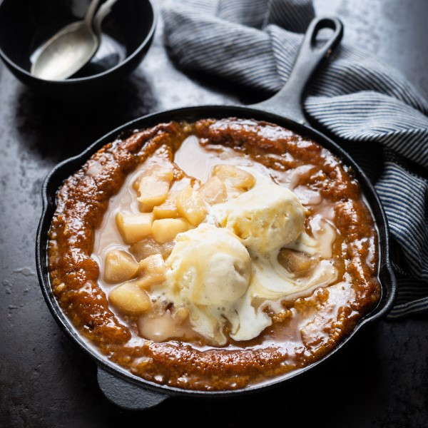 Malva Pudding with Poached Pears