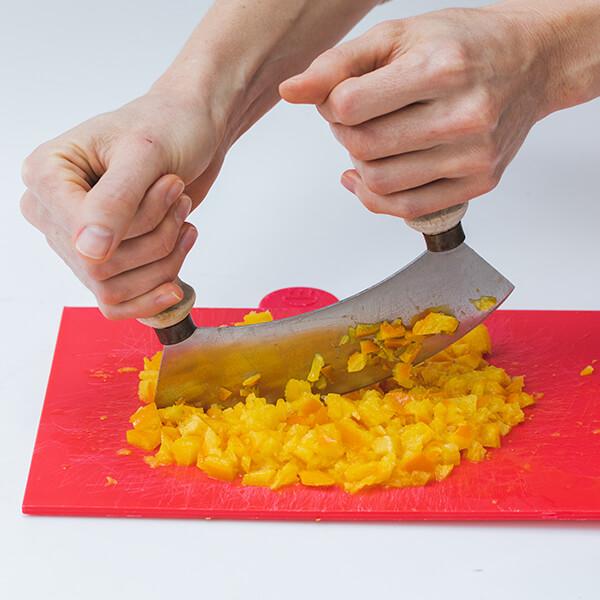 Chopping cooled orange