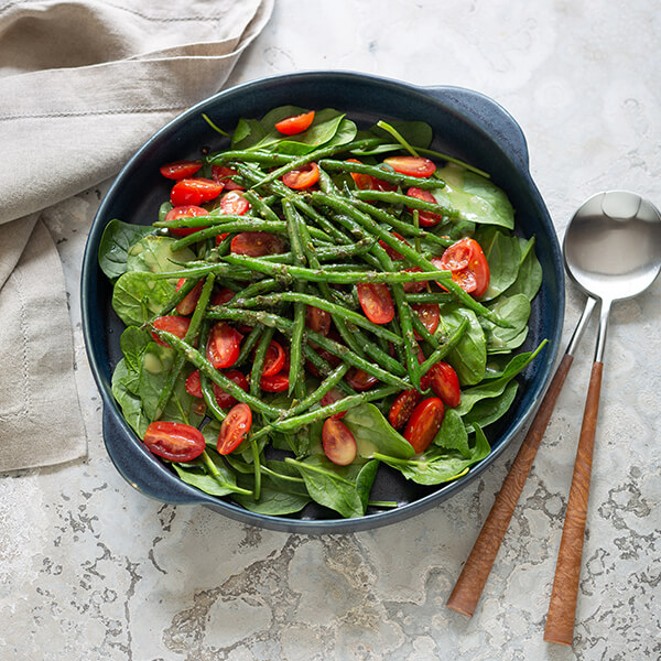 Spinach, Green Bean and Tomato Salad