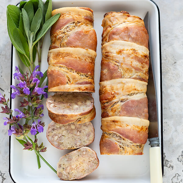 Stuffing Roll Wrapped in Bacon